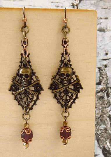 mauve copper brass pirate earrings